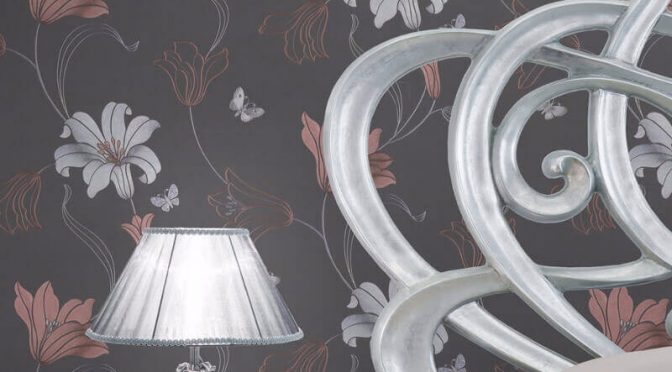 Muriva Amelia Floral Charcoal/Rose Metallic Wallpaper