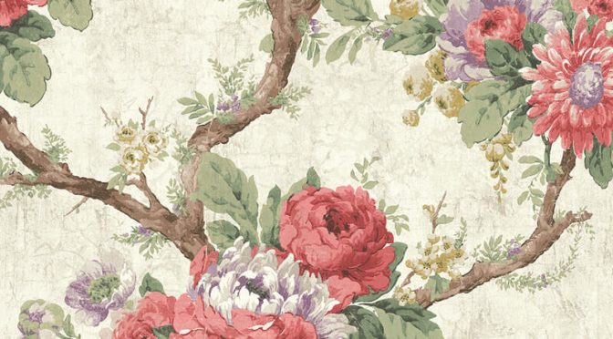 Nina Hancock Floral Branch Rose/Lilac Wallpaper