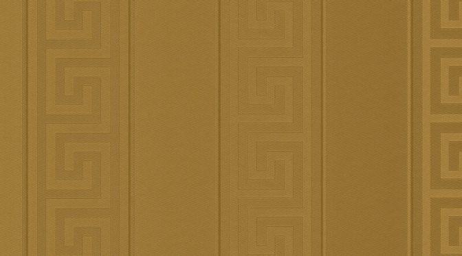Greek Key Stripe Gold Metallic Wallpaper