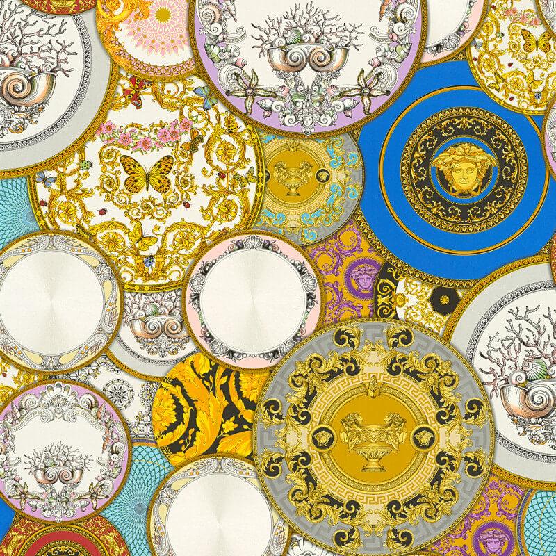 Les etoiles dish multi metallic wallpaper versace home for Wallpaper versace home