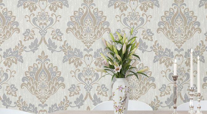 Vymura Senator Damask Taupe/Silver Glitter Wallpaper