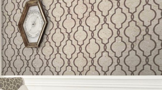 Pear Tree Cork Effect Trellis Taupe Wallpaper