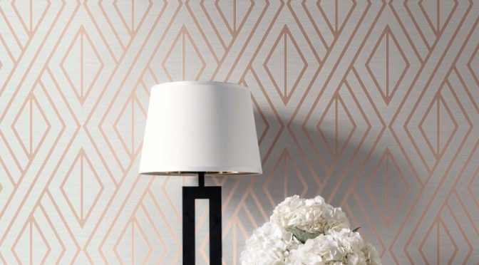 Pear Tree Geo Diamond Rose Gold Metallic Wallpaper