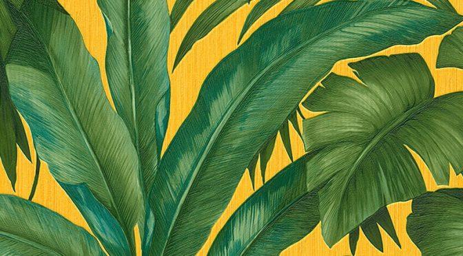 Versace Giungla Palm Motif Emerald Gold Wallpaper