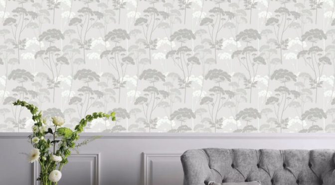 Elderflower Leaf Dove Grey Glitter Wallpaper