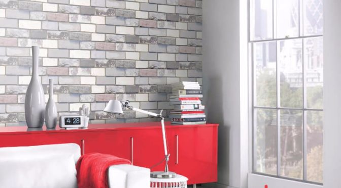 Arthouse Opera Industrial Brick Grey Wallpaper