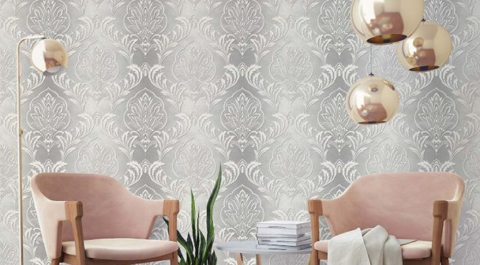 Crown Aiya Damask Grey Wallpaper