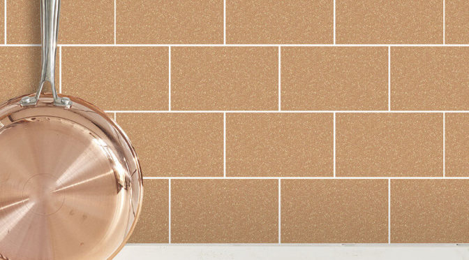 Crown London Tile Copper Glitter Wallpaper