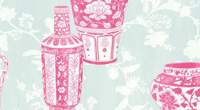 Nina Hancock Vases Pink Wallpaper
