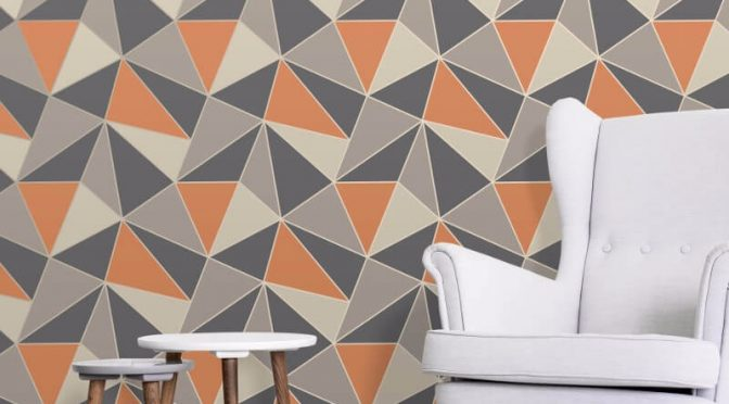 Fine Decor Apex Geo Burnt Orange Wallpaper
