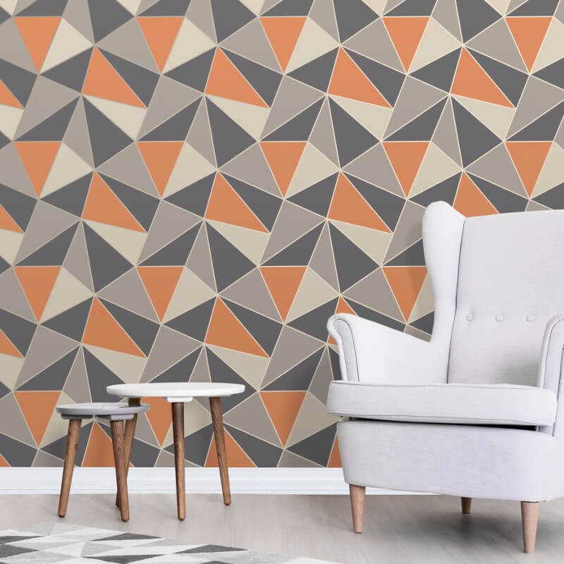 Fine decor apex geo burnt orange wallpaper go decorating - Burnt orange feature wall living room ...