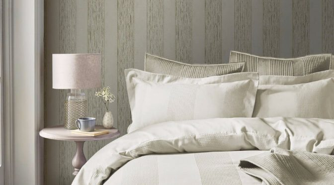 Serena Stripe Gold Metallic Wallpaper