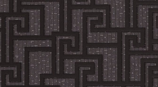 Greek Key Small Granite Metallic Wallpaper