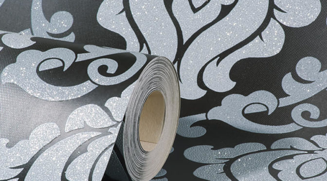 AS Creation Omega Damask Black/Silver Glitter Wallpaper