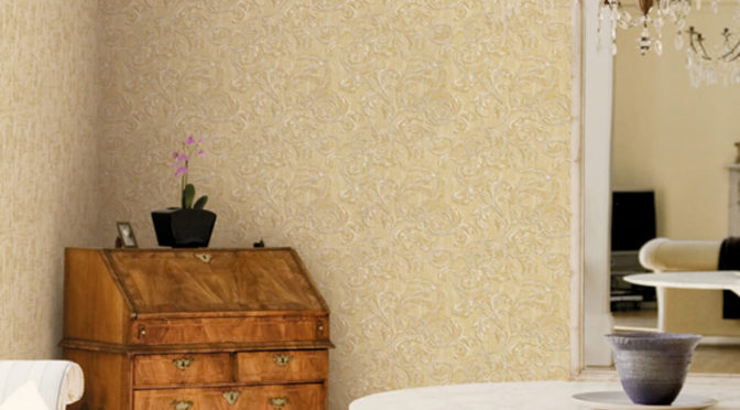 Muriva Kastra Scroll Gold Wallpaper