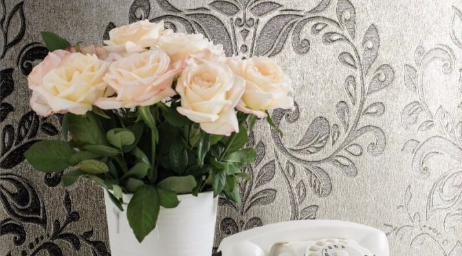 Muriva Serena Damask Silver Metallic Wallpaper