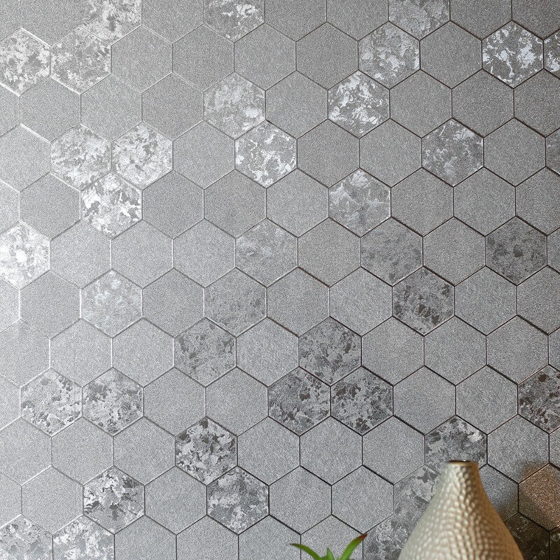 Arthouse Foil Honeycomb Silver Metallic Wallpaper