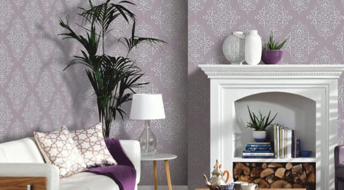 Arthouse Cardinale Mauve Glitter Wallpaper