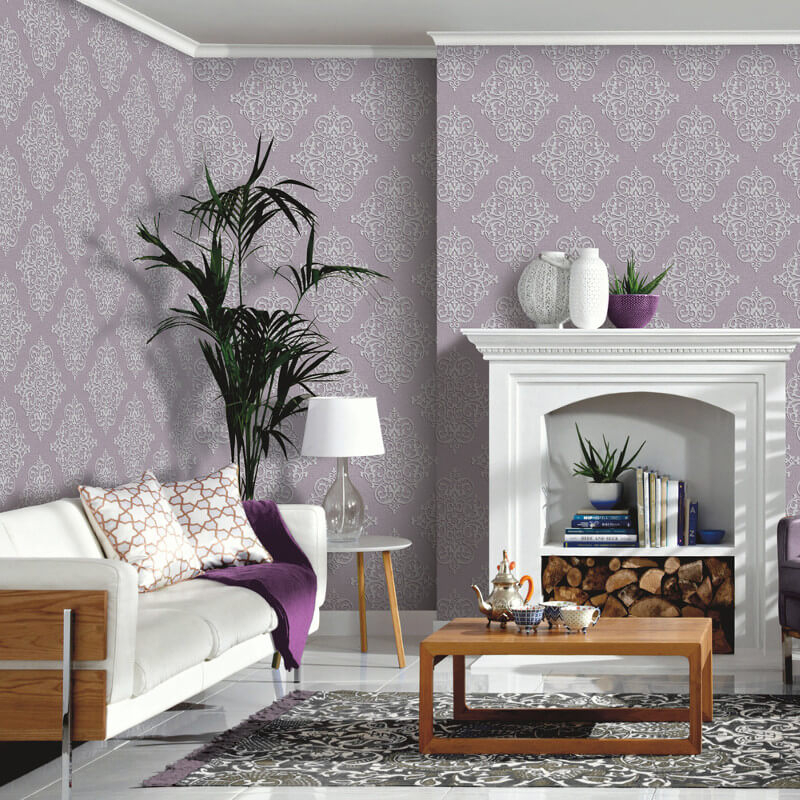 19 Collection Of Purple And Grey Wall Art: Arthouse Cardinale Mauve Glitter Wallpaper