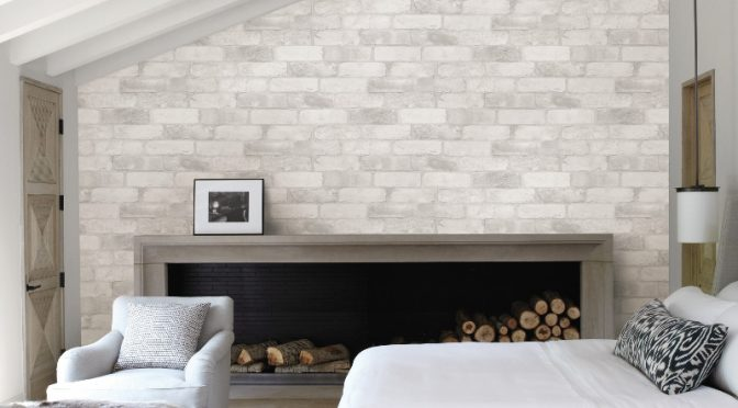 Fine Decor Reclaimed Brick Wallpaper in White