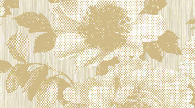 Pear Tree Studios Halftone Floral Gold Wallpaper