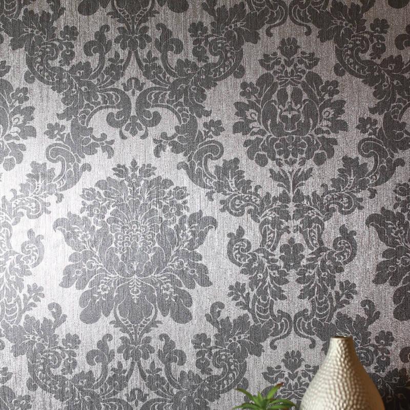 Damask silver foil metallic wallpaper arthouse vintage - Art house wallpaper uk ...