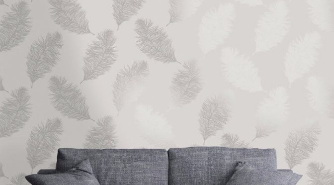 Holden Decor Fawning Feather Grey Silver Metallic Wallpaper