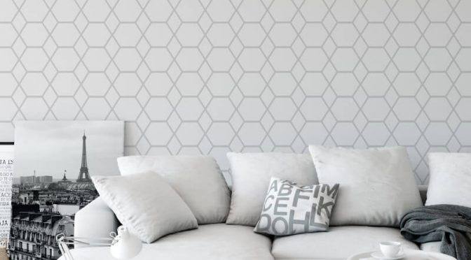 Muriva Casca Geometric Silver Metallic Wallpaper