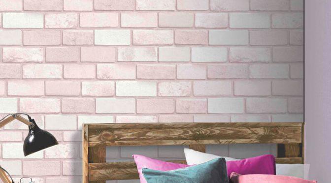 Diamond Brick Pink Glitter Wallpaper