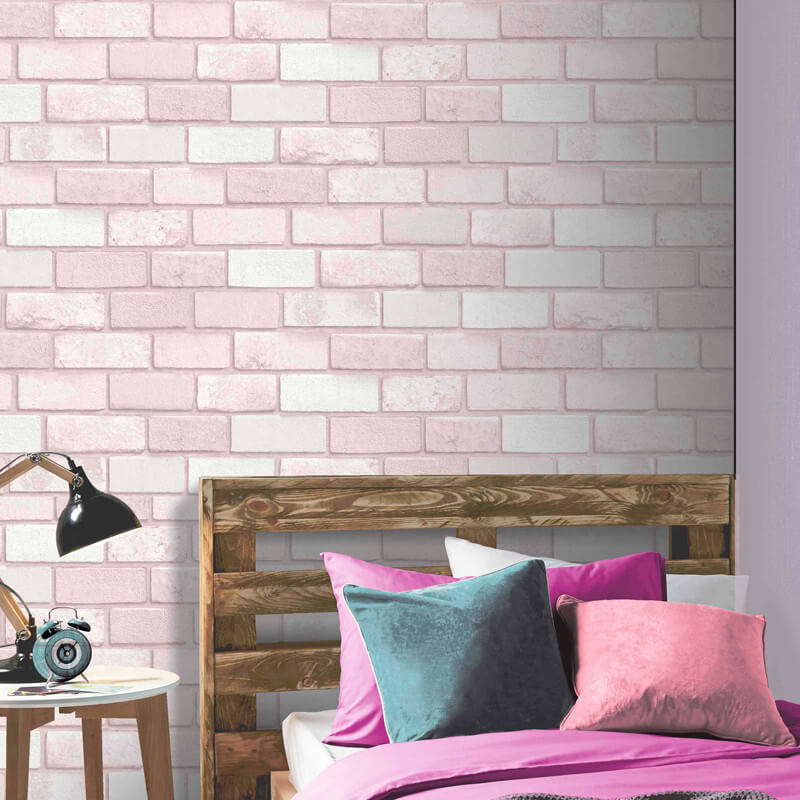 Arthouse Diamond Brick Pink Glitter Wallpaper Arthouse