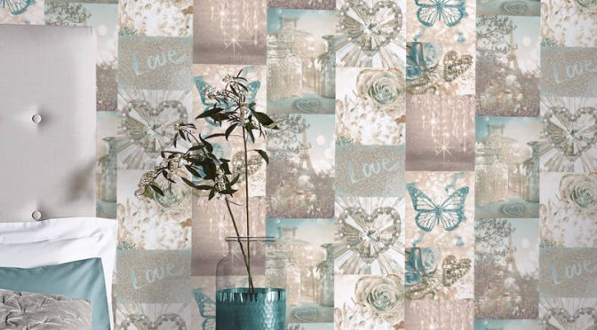 Arthouse Love Paris Collage Teal Glitter Wallpaper