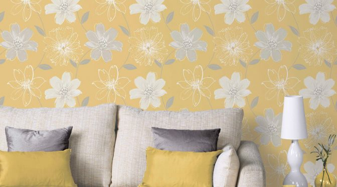 Arthouse Samba Floral Yellow Glitter Wallpaper