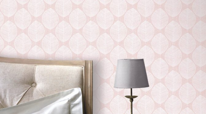 Arthouse VIP Scandi Leaf Pink Wallpaper