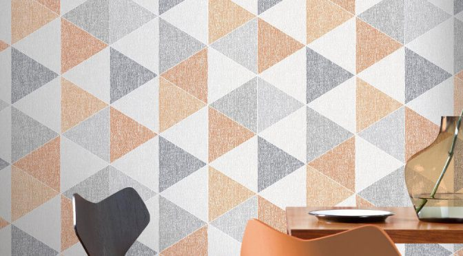 Arthouse VIP Scandi Triangle Orange Grey Wallpaper