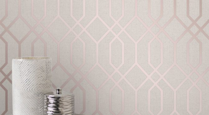 Fine Decor Quartz Trellis Rose Gold Glitter Wallpaper