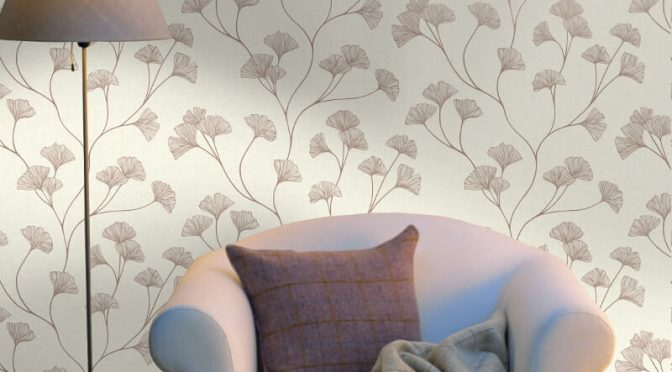 Holden Decor Ginkgo Cream Rose Gold Metallic Wallpaper
