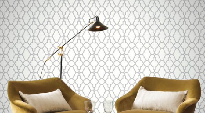 Rasch Casablanca Trellis White/Silver Metallic Wallpaper