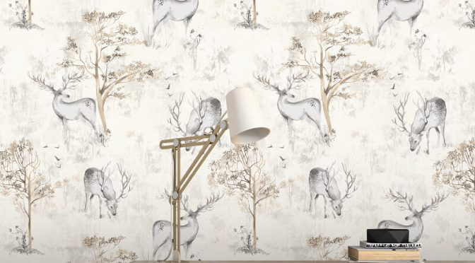 Rasch Highland Stag Natural/Cream Metallic Wallpaper