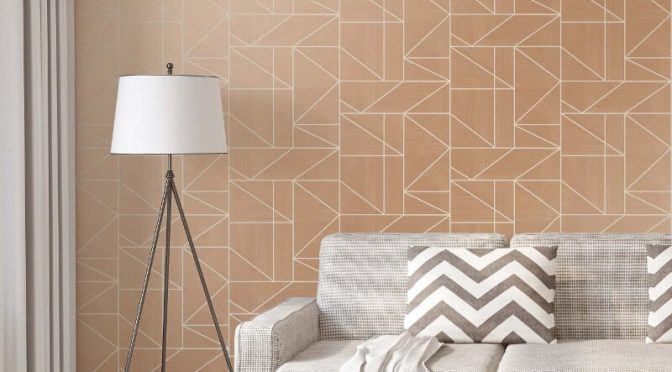 Crown Alexis Geometric Rose Gold Metallic Wallpaper