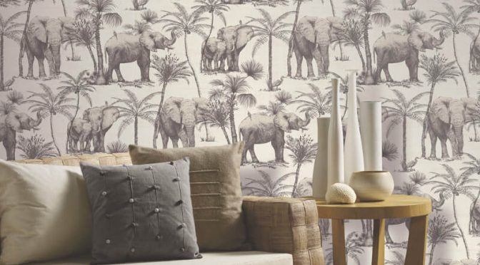 Elephant Grove Charcoal Wallpaper