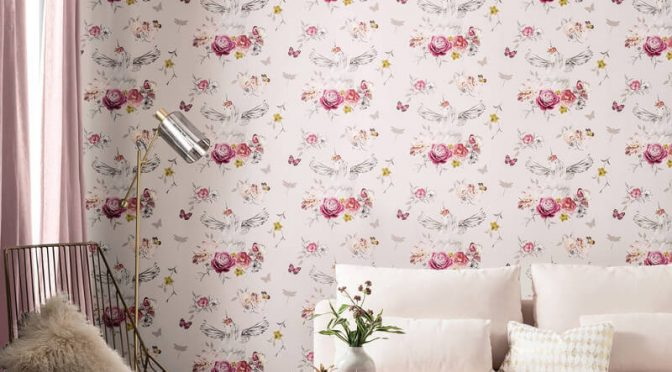Arthouse Anastasia Unicorn Pink Glitter Wallpaper