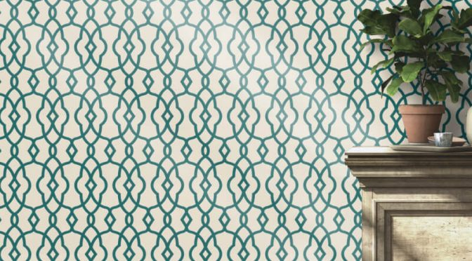 Freundin Modern Geo White Teal Metallic Wallpaper