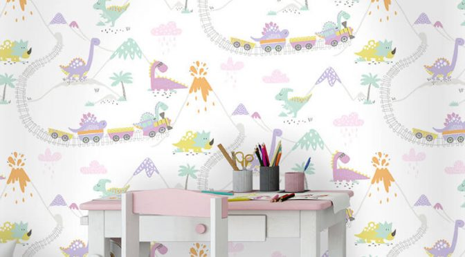 Holden Decor Dino Town Dinosaur Cream/Heather Wallpaper