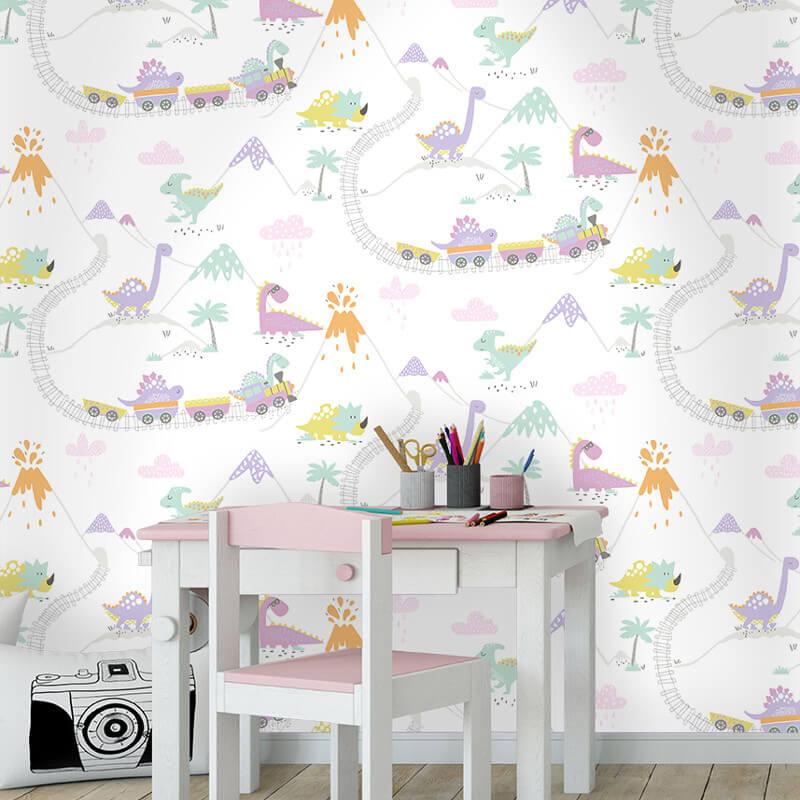 Dino Town Dinosaur Cream Heather Wallpaper