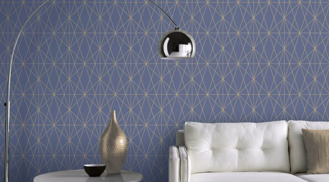 Arthouse Web Geometric Blue/Gold Metallic Wallpaper