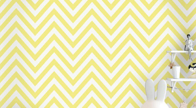 Holden Decor Chevron Striped Pattern Yellow Wallpaper