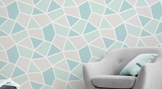 Crown Arendal Geometric Mint/Grey Metallic Wallpaper
