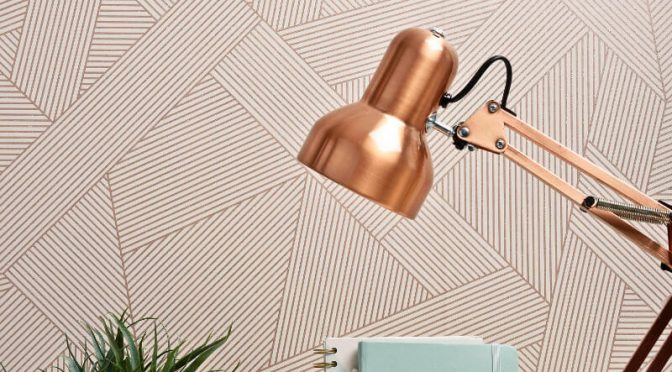 Crown Duke Geometric Lines Rose Gold Glitter Wallpaper