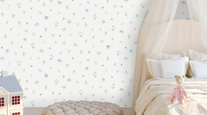 Holden Decor Butterfly Garden Cream/Heather Glitter Wallpaper