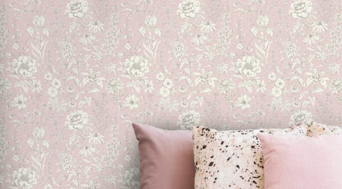 Holden Decor Lavina Floral Pink Metallic Wallpaper